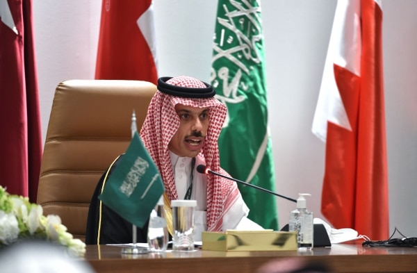 Saudi Foreign Minister Faisal bin Farhan al-Saud holds a news conference at the end of the 41st Gulf Cooperation Council summit in the city of al-Ula, northwestern Saudi Arabia, on Jan. 5, 2021. (Fayez Nureldine/AFP via Getty Images)