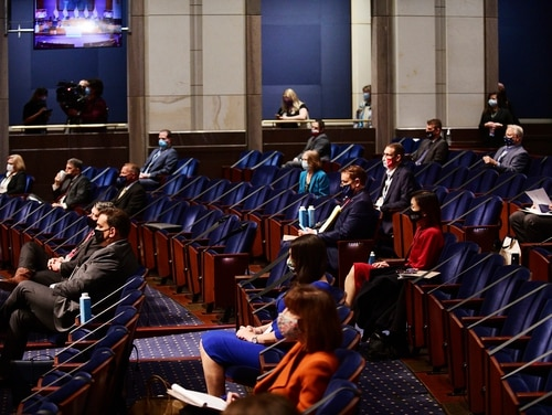 Newly elected members of the Congress participate in an orientation on Capitol Hill on Nov. 13, 2020. (Astrid Riecken/AP)