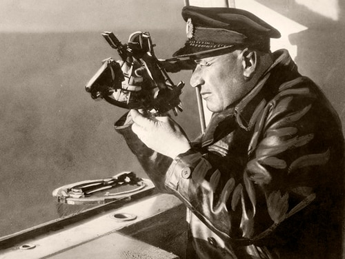 Graf Zeppelin navigator Max Prüß uses a sextant to find a Sun line of position during a record-setting, around-the-world flight in 1929. (National Air and Space Museum, Smithsonian Institution)