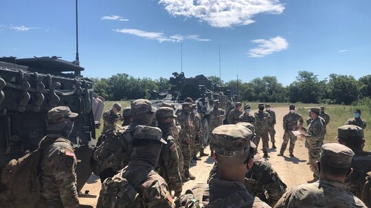 Troopers from Thunder Squadron, 3rd Cavalry Regiment, receive a brief prior to going out on searches recently in the training area at Fort Hood, Texas. (Army)