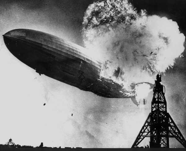 The Hindenburg explodes as it approaches the mooring mast at Lakehurst Naval Air Station in Lakehurst, N.J., on May 6, 1937. The era of the great German Zeppelins ended when the Hindenburg burst into a fireball after a trans-Atlantic flight. (AP Photo)