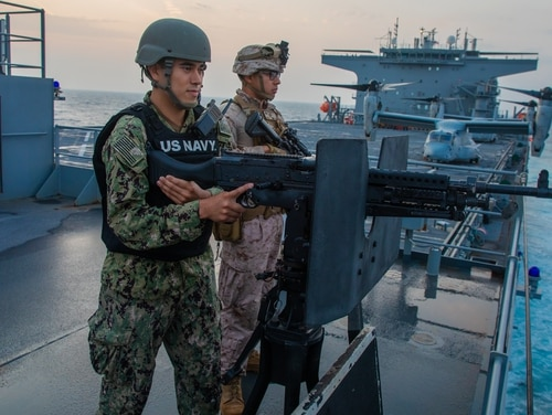 The expeditionary sea base Lewis B. Puller transited the Strait of Hormuz on Dec. 18. (Sgt. Kyle C. Talbot/Marine Corps)