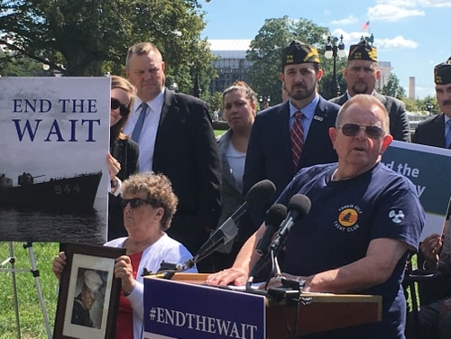 Navy veteran Bobby Daniels, right, speaks to a crowd of supporters during a Capitol Hill rally on Sept. 24, 2019. Daniels is fighting terminal prostate cancer he says is linked to Agent Orange exposure during his time aboard the USS Lexington during the Vietnam War. (Leo Shane III/Staff)