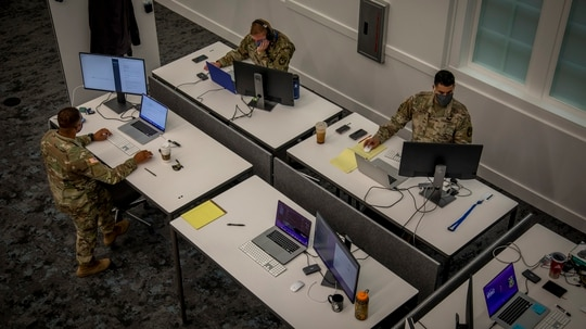 Soldiers work at Army Futures Command's Software Factory on March 22 in Austin, Texas. (Luke J. Allen/U.S. Army)