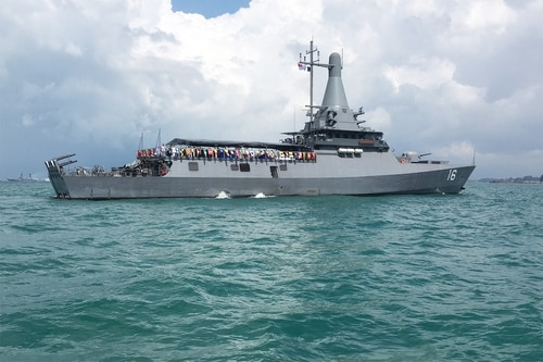 The Republic of Singapore Navy's new littoral mission vessel RSS Sovereignty. (Mike Yeo/Staff)