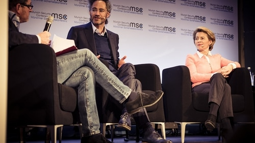 Alex Karp, co-founder and CEO of Palantir Technologies, center, and Ursula von der Leyen, Germany's defense minister, right, talked through the challenges, from both sides, of infusing innovation into government at the Munich Security Conference. (MSC/Kuhlmann)