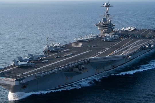 The aircraft carrier Harry S. Truman transits the Arabian Sea in February 2020. (MC2 Scott Swofford/Navy)