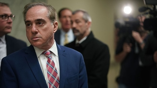 Secretary of Veterans Affairs David Shulkin leaves after a hearing before the Military Construction, Veterans Affairs, and Related Agencies Subcommittee of House Appropriations Committee March 15, 2018 on Capitol Hill in Washington, DC. (Alex Wong/Getty Images)