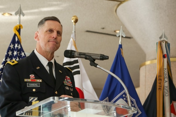 Lt. Gen. Thomas Vandal, commander of Eighth Army, speaks at the holiday concert in Seoul, Korea, Dec. 17, 2017. (Pfc. Edward Randolph/Army)