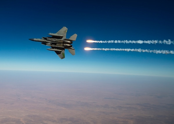 A U.S. Air Force F-15C Eagle release flares over the U.S. Central Command area of responsibility on Aug. 13, 2020. (Senior Airman Duncan C. Bevan/U.S. Air Force)