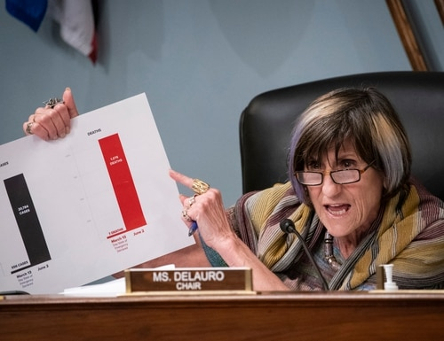 Rep. Rosa DeLauro, D-Conn. and chairwoman of the House Appropriations Committee, holds up a chart during a coronavirus hearing on Capitol Hill on June 4, 2020. (Al Drago/AP)