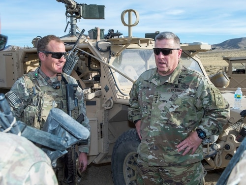 Army Chief of Staff Gen. Mark Milley, seen here during a visit to the National Training Center at Fort Irwin, Calif., believes the Army must grow so that it can properly meet the many demands for boots on the ground. (Sgt. 1st Class Chuck Burden/Army)