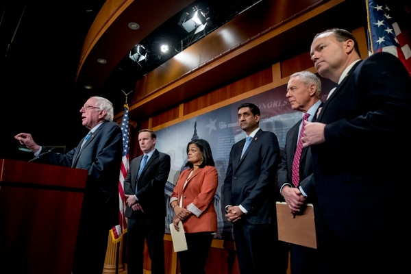 From left, Sen. Bernie Sanders, I-Vt., accompanied by Sen. Chris Murphy, D-Conn., Rep. Pramila Jayapal, D-Wash., Rep. Ro Khanna, D-Calif., Rep. Ken Buck, R-Colo., and Sen. Mike Lee, R-Utah, speaks about a Yemen resolution on Jan. 30, 2019. (Andrew Harnik/AP)