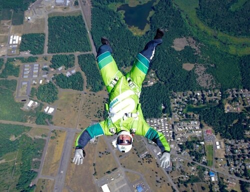 Luke Aikins trains for Stride Gum Presents Heaven Sent, his historic jump from 25,000 feet without a parachute or wing suit, which will air July 30th on FOX. (PRNewsFoto/Mondelēz International)