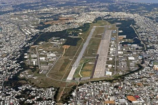 This Jan. 27, 2018, aerial photo shows U.S. Marine Air Station Futenma in Ginowan, Okinawa, southern Japan. (Kyodo News via AP)