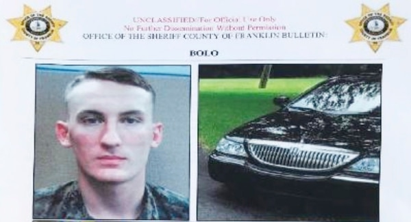 In this undated image released by the Franklin County , Virginia, Sheriff's Office, U. S. Marine Michael Alexander Brown is shown. (Franklin County Sheriff's Office via AP)