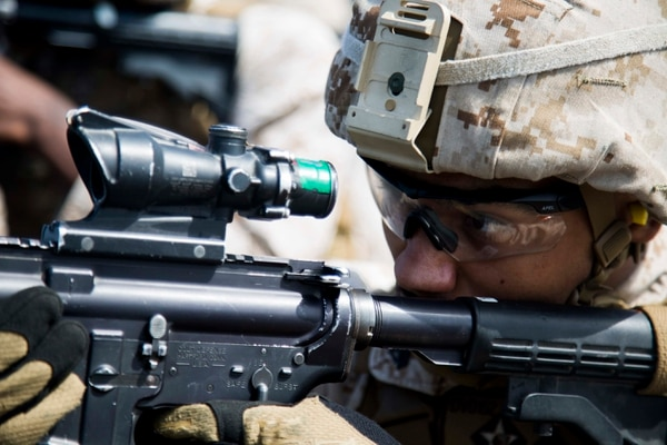 U.S. Marines assigned to Headquarters and Support Company, Battalion Landing Team 2/6, 26th Marine Expeditionary Unit (MEU) conduct a live fire shoot aboard the amphibious assault ship USS Kearsarge (LHD 3), in the Red Sea, Mar. 19, 2016. The 26th MEU is embarked on the Kearsarge Amphibious Ready Group and is deployed to maintain regional security in the U.S. 5th Fleet area of operations. (U.S Marine Corps photo by Cpl. Jalen D. Phillips/ Released)