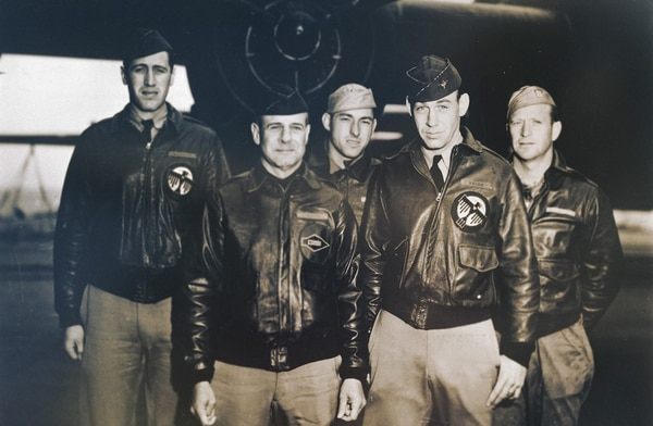 Airmen with Crew No. 1 (Plane 40-2344), 34th Bombardment Squadron, U.S. Army Air Forces, were among those who conducted the Doolittle Raid over Tokyo on April 18, 1942. They are, from left: Lt. Henry A. Potter, navigator; Lt. Col. James H. Doolittle, pilot; Staff Sgt. Fred A. Braemer, bombardier; Lt. Richard E. Cole, co-pilot; and Staff Sgt. Paul J. Leonard, engineer-gunner. (Air Force)