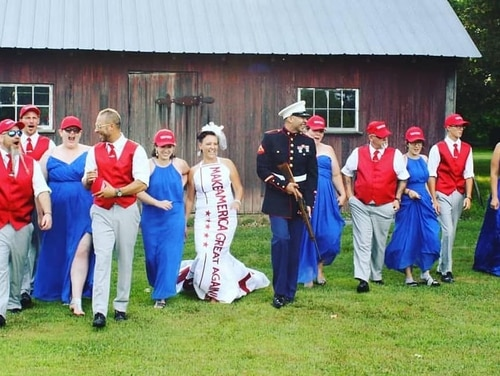 Jeff and Audra Johnson celebrated their marriage by paying tribute to the president. (Audra Johnson Facebook)