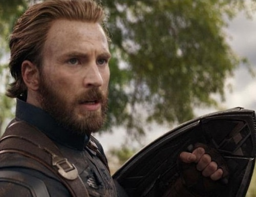 "Chris Evans sports a new look as Steve ""Captain America"" Rogers in ""Avengers: Infinity War,"" out Friday. (Trailer screen shot/YouTube)"