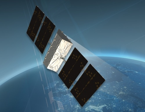 An artist's depiction of a notional protected communications satellite. (Lockheed Martin image)