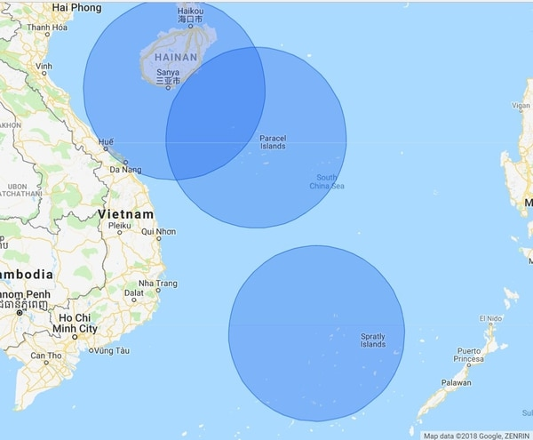 The range of the HQ-9 surface-to-air missile. (Google)