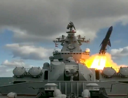 In this undated video grab provided by Russian Defense Ministry Press Service, Russia's Varyag missile cruiser fires a cruise missile as part of the Russian navy maneuvers in the Bering Sea. The Russian navy has conducted massive war games near Alaska involving dozens of ships and aircraft, the biggest such drills in the area since Soviet times. (Russian Defense Ministry Press Service via AP)