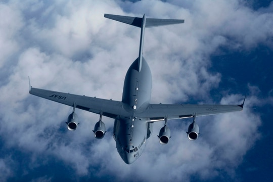 Air Mobility Command recently tested a new tactical data link system on two C-17s. (Master Sgt. Mark C. Olsen/U.S. Air Force)