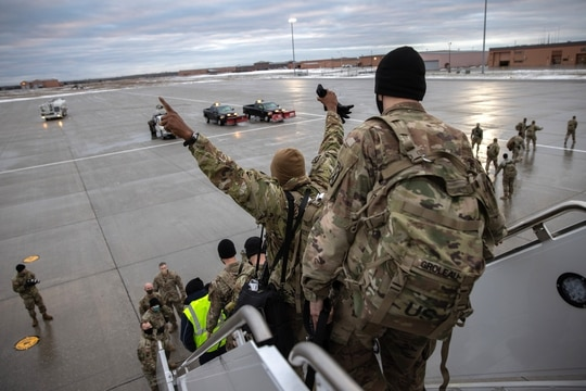 U.S. Army soldiers return home from a nine-month deployment to Afghanistan on Dec. 10, 2020, at Fort Drum, N.Y. (John Moore/Getty Images)