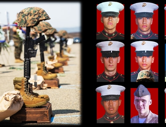 U.S. Marine Corps combat crosses are displayed during a memorial service at Marine Corps Base Camp Pendleton, California, Aug. 21, 2020.