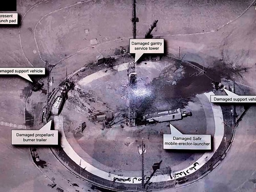 This image taken from President Donald Trump's Twitter account shows an undated photo of the aftermath of an explosion at Iran's Imam Khomeini Space Center. The explosion Thursday, Aug. 29, 2019, left the smoldering remains of a rocket on a launch pad at the center, which was to conduct a satellite launch. (Via AP)