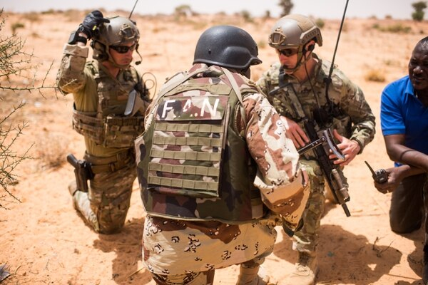 Nigerien troops conduct key leader engagement training with U.S. Special Forces during an exercise in Niger, Africa, in April. (Staff Sgt. Jeremiah Runser/Army)