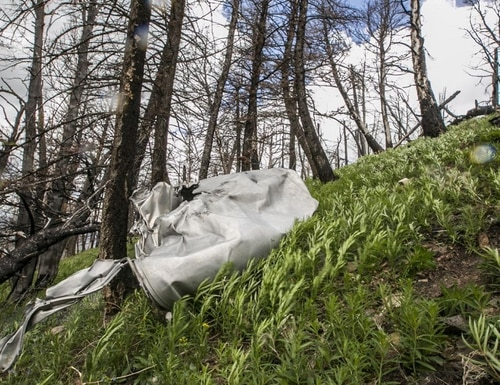 Part of an Air Force bomber that crashed in Montana in 1962 is pictured on June 14, 2016. (Adrian Sanchez-Gonzalez/Bozeman Daily Chronicle)