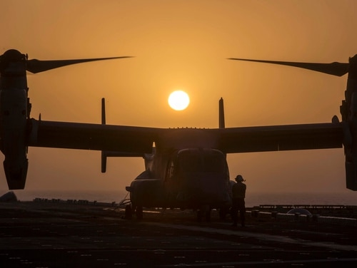 A Marine Corps MV-22B Osprey prepares for takeoff Jan. 5 while aboard the Wasp-class amphibious assault ship Essex in the Arabian Sea. (Sgt. Francisco J. Diaz Jr./Marine Corps)