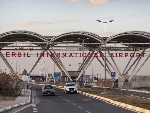 A picture taken on Dec. 24, 2019, shows a view of the entrance of Erbil International Airport in the capital of the northern Iraqi Kurdish autonomous region Arbil. (Safin Hamed/AFP via Getty Images)