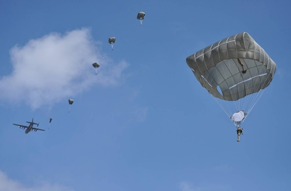 The T-11 parachute is shown during a jump at Fort Benning, Ga. The parachute will soon be widely used by soldiers. Army photo