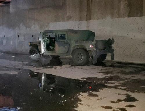 This photo provided by the FBI Los Angeles shows a military Humvee that was stolen from a National Guard facility in a Los Angeles suburb and was found Wednesday, Jan. 20, 2021. (FBI via AP)