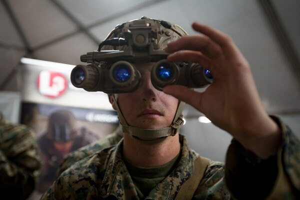 Lance Cpl. Skyler Stevens, an infantryman with 3rd Battalion, 4th Marine Regiment, 1st Marine Division, uses new night optics technology during Urban Advanced Naval Technology Exercise 2018 (ANTX-18) at Marine Corps Base Camp Pendleton, California, March 19. (Lance Cpl. Rhita Daniel/ Marine Corps)