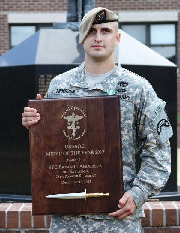 Photo Credit: Sgt. 1st Class Michael R. Noggle Cpl. Bryan Anderson, Bravo Company, 3rd Battalion, 75th Ranger Regiment, was named the 2014 U.S. Army Special Operations Command Medic of the Year, during a June 25, 2014, ceremony at Fort Benning, Ga.