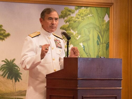 Adm. Harry Harris, commander of U.S. Pacific Command, speaks to attendees of the U.S. Indonesia Society & American Chamber of Commerce on Aug. 7, 2017, in Jakarta, Indonesia. (Courtesy photo by U.S. Embassy & Consulates in Indonesia)