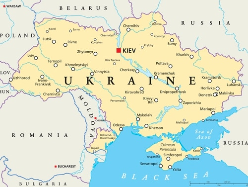 Ukraine political map with capital Kiev, national borders, important cities, rivers and lakes. (Getty Images)