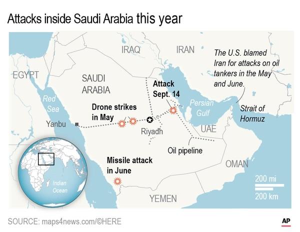 Drone attacks inside Saudi Arabia.