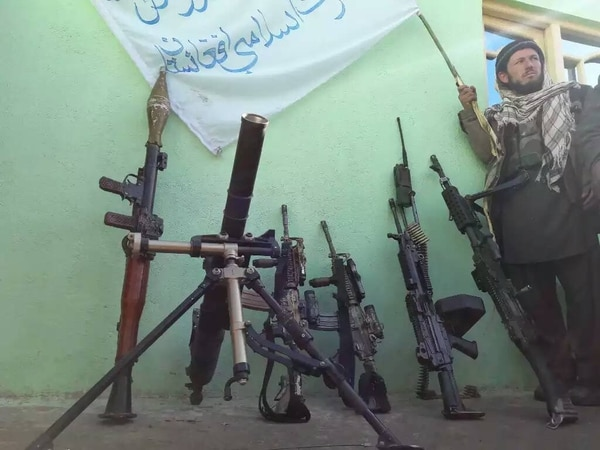 The Taliban claim to have captured various U.S. weapons, including M4 rifles, M249 and M240 machine guns, and a tactical radio, in Badakhshan province, Afghanistan, which shares a border with China. The photo was posted to the Taliban spokesperson's twitter account on May 5, 2017. China worries that members of the East Turkestan Islamic Movement are crossing into Xinjiang from Wakhan to carry out attacks.