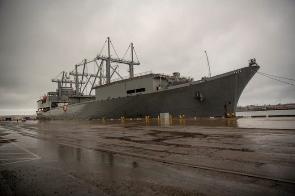 The SS Curtiss arrives at Port Hueneme to support exercise Pacific Blitz 19. (Cpl. Jacob A. Farbo/U.S. Marine Corps)