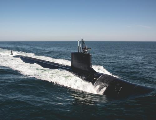 The Block III Virginia-class attack submarine Delaware one sea trials in the Atlantic Ocean. (U.S. Navy photo courtesy of HII)