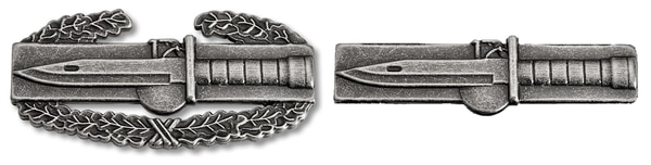 A mock-up of the proposed Expert Soldier Badge, a wreathless version of its inspiration, the Combat Action Badge. (Photo credit: Staff)