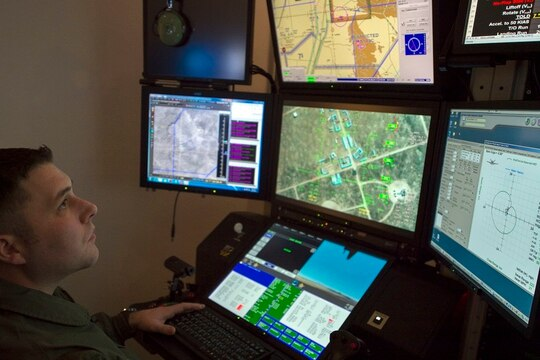 2nd Lt. Timothy, a remotely piloted aircraft student pilot, operates an MQ-9 flight simulator for training Dec. 10, 2019, on Holloman Air Force Base, New Mexico. The 49th Wing is the largest formal training unit for MQ-9 RPA pilots and sensor operators. (Airman 1st Class Quion Lowe/Air Force)
