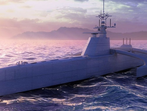 A rendering of the Sea Hunter unmanned surface ship developed by the Defense Advanced Research Projects Agency. A separate program aimed at developing a lethal unmanned surface vessel is producing a nearly $3 billion program announced in the Navy's FY2020 budget roll out. (DARPA)