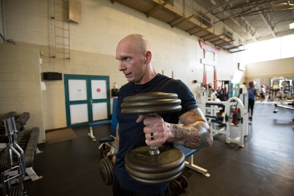 Staff Sgt. Joseph Fontenot, Army Times Soldier of the Year 2015, is seen at his unit gym at Fort Campbell, KY on Tuesday, June 16, 2015. Fontenot is a fitness enthusiast who helped create the Drill Sergeant Preparation Course and helps candidates improve their fitness.