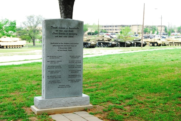 A stone memorial stands in honor of those killed during the Nov. 5, 2009, shootings at Fort Hood, Texas. (Master Sgt. Jacob Caldwell/Army)